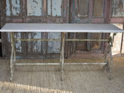 Antique Cast Iron Console with Marble Top, (NEW YEAR SHIPMENT)